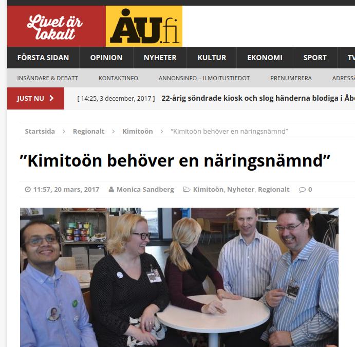 """""""Kimitoön behöver en näringsnämnd"""" – ÅU – Finland"""
